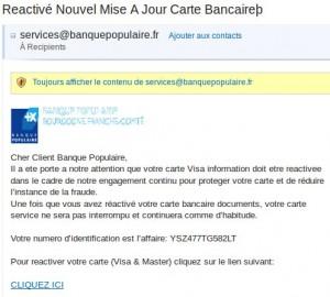 email de la banque populaire et fraude
