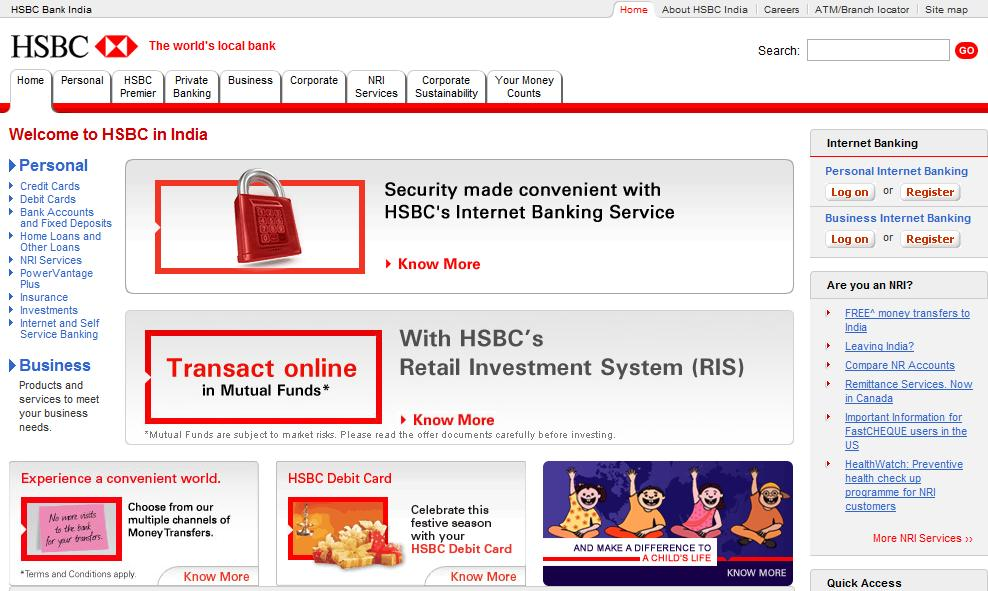 Aperçu du site Internet (version internationale) de HSBC