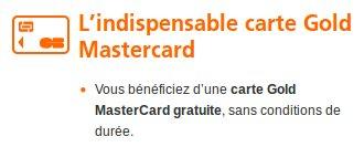 Cout de la carte mastercard gold