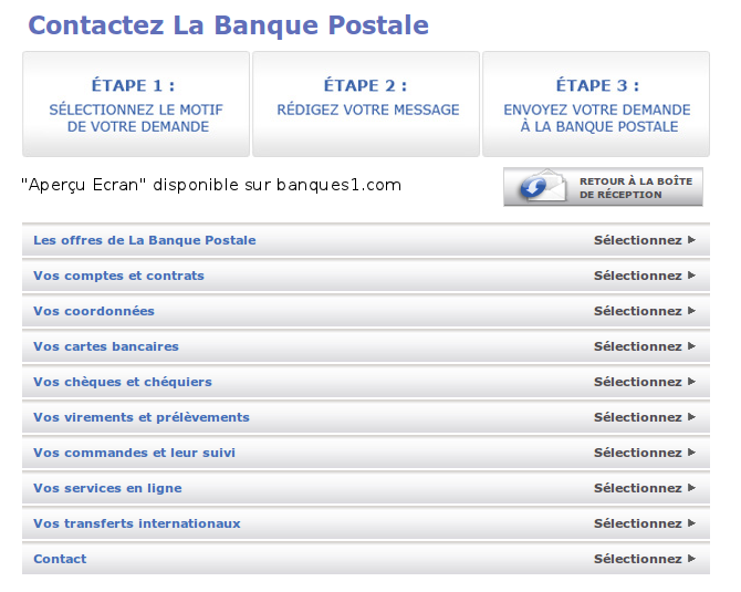 Contact Banque postale
