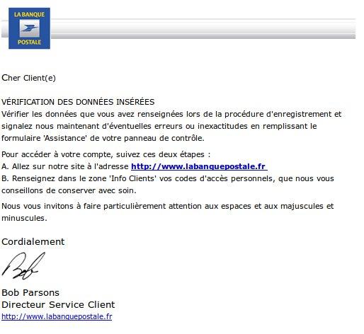 Banque Postale Signaler Une Fraude Un Faux Site De La Banque