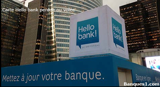 Perte ou vol carte Hello bank
