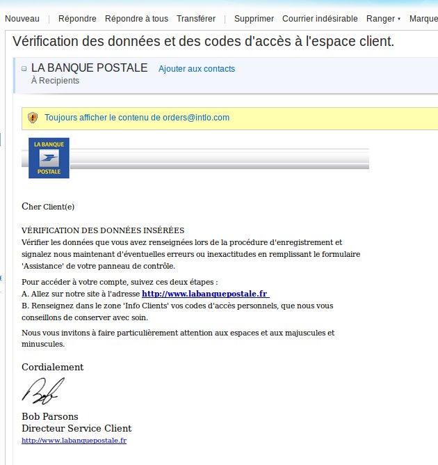 e-mail de la banque postale et fraude