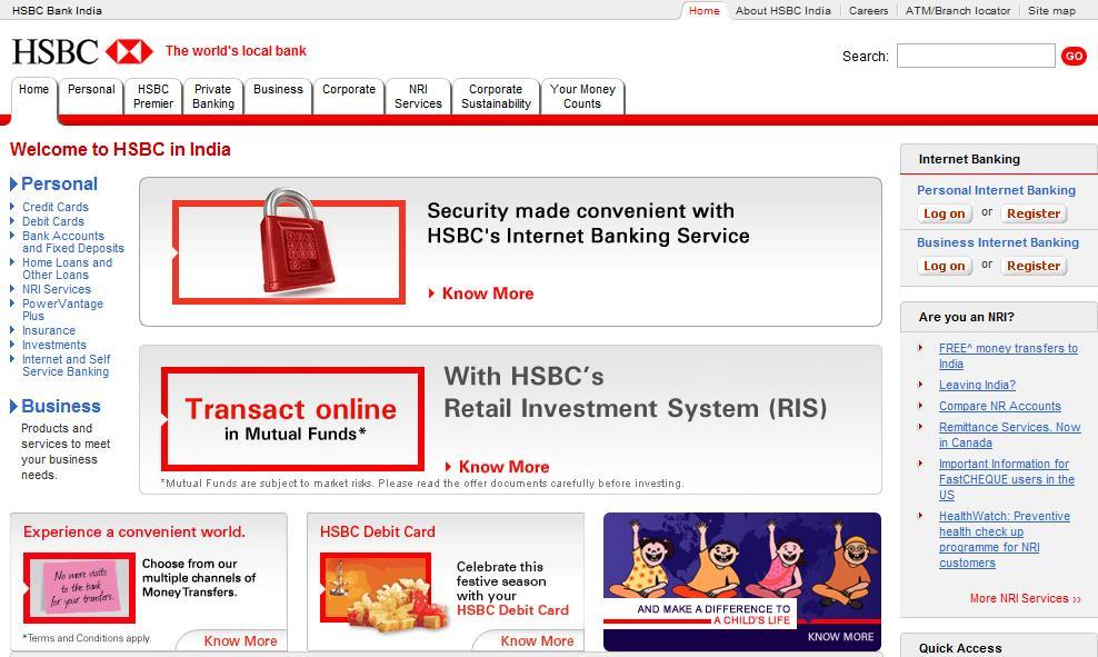 Aperçu du site Internet (version internationale) de HSBC