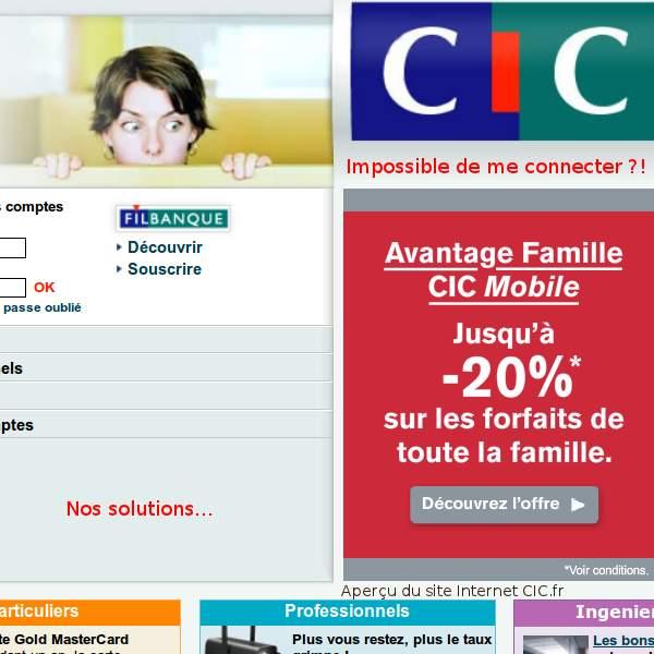 CIC.fr Impossible de me connecter au site