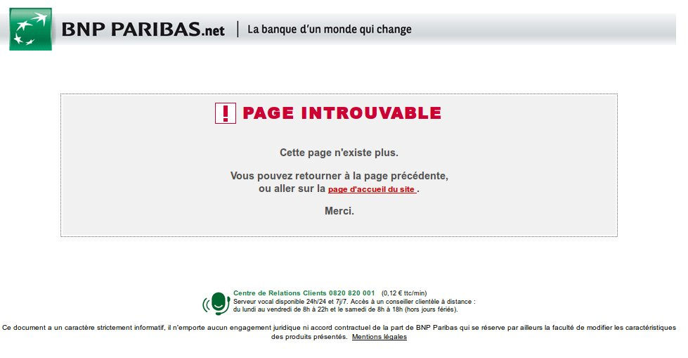 BNP Paribas page introuvable